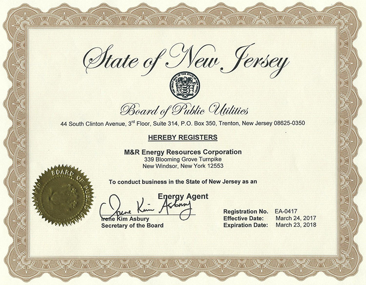 Registered Energy Agent - New Jersey Board of Public Utilities